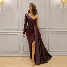 2018 Elegant Saudi Arabia Evening Dresses Gown One Shoulder Lace Aplique Split Side Formal Dress Long Sleeves Prom Gowns