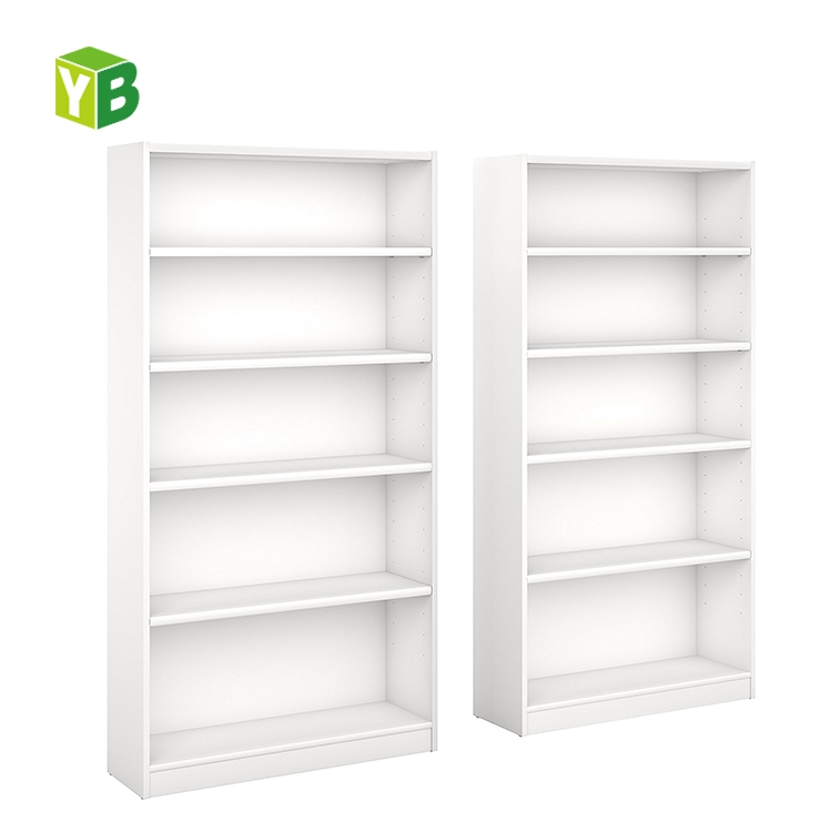 White Classic Elegant Chinese Style Study Room Furniture Universal 5 Shelf Design Wooden Bookcase