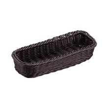 PP Rattan Rectangle Black Basket for Storage of Cutlery