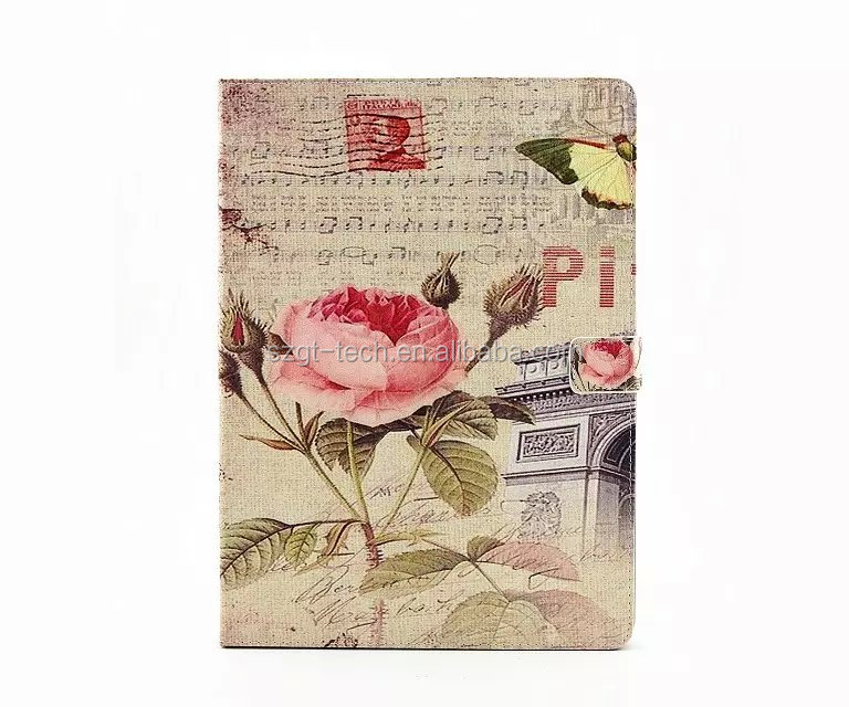 Wholesale Price Color Painting Flower Leather Flip Case for iPad Pro with Wake Up/Sleeping