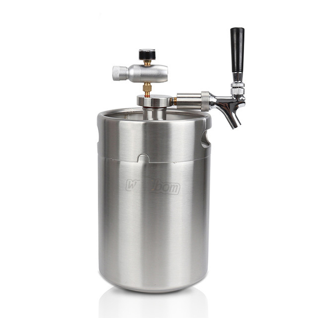 Stainless 2L Mini Growler Keg Beer Spear with Tap Faucet with CO2 Injector Premium