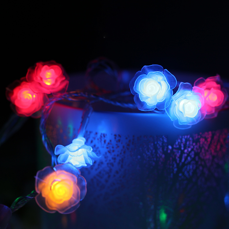 Events and Parties 2M 20LED Rose LED String Lights Holiday Wedding Birthday Decoration Lightings Rose LED Guirlande Lumineuse