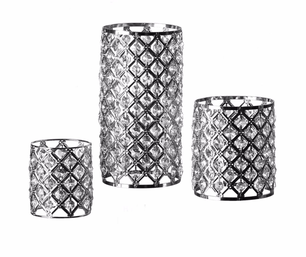 Hot selling home goods chrome plated wholesale centerpieces decorative crystal candle holder