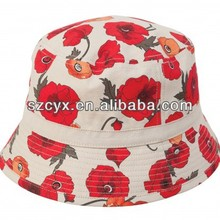 Women printing pattern poppy canvas bucket hat