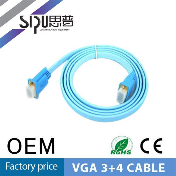 SIPU high quality flat m/f 3+4 monitor 100 meters vga cable