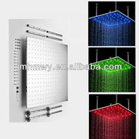High quality high flow 800*800mm BGR 3 color change rainfall shower head for bath