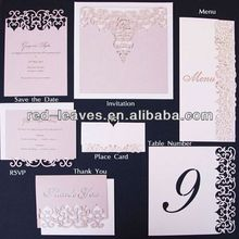 Royal/elegant wedding decorate paper material laser cut invitations RSVP save the dates