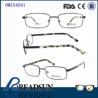 Full Frame Metal Temples Acetate Tips Black Optical Eyeglasses Frames Wholesale