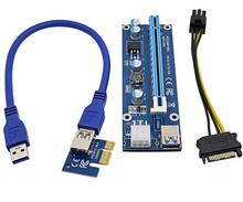 PCIe X1 TO X16 PCIE USB 3.0 riser/60CM 6Pin USB 3.0 extender card with power supply cable / PCI-e 1x to 16x Adapt Riser