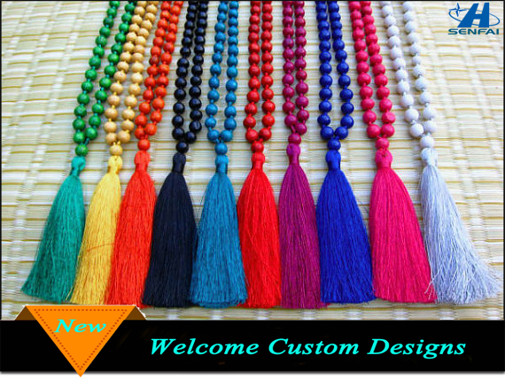 Cheap Colorful Prayer Beads Long Tassel Necklace, Fashion Silk Tassel Necklace