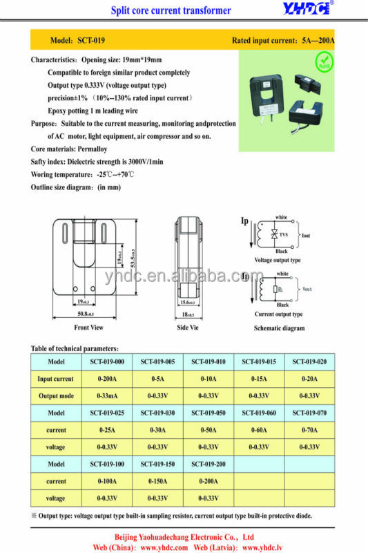 SCT-019 19mm window size split core current transformer 0-200A: 0.333V (333mV)