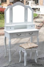 classic white wooden dressing table with 3 fold mirrors/white MDF dressing table