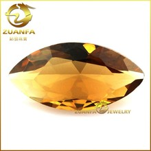 Color Crystal glass Wholesale marquise shape yellow glass stone for jewelry