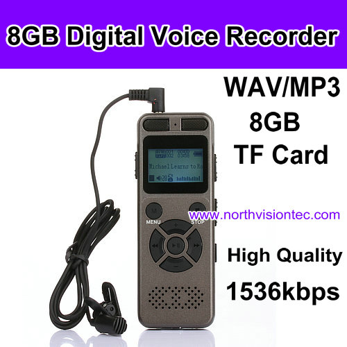 8GB Professional HD Mini Digital Audio Voice Recorder with 1536kbps high quality