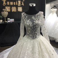 Sexy Ball gown Chapel Train Lace Long sleeves Star Appliqued Ivory Satin Wedding Dress