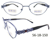 New fashion full rim purple with diamond stone metal wholesale eyeglasses frames for lady