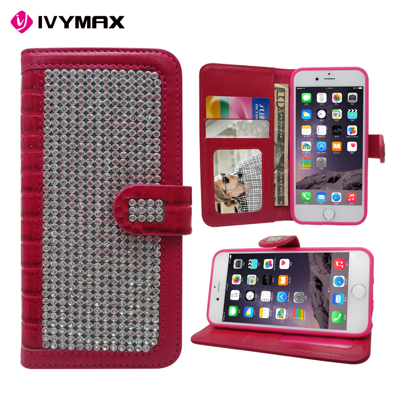 Luxury Glitter Bling Crystal Diamond PU Leather Case for iPhone 6 phone case