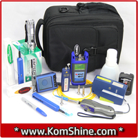 KomShine FCI-11K Optical Fiber Connector Cleaning+Loss Testing+Inspection+Fault Locating Tool Kit incl. Optical Power Meter+VFL