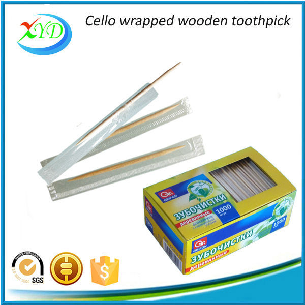2016 hot sale cello wrapped wooden toothpick