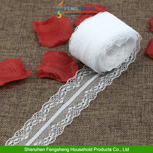 White 10 Yard 4cm Wide Embroidered Net Floral Lace Trim Ribbon Sewing Decoration