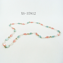Transparent red and green bead long necklace for Women Teen Girls