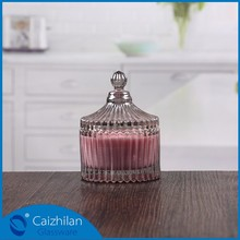 No.6 glass candle jar sprayed white holder with wooden lid
