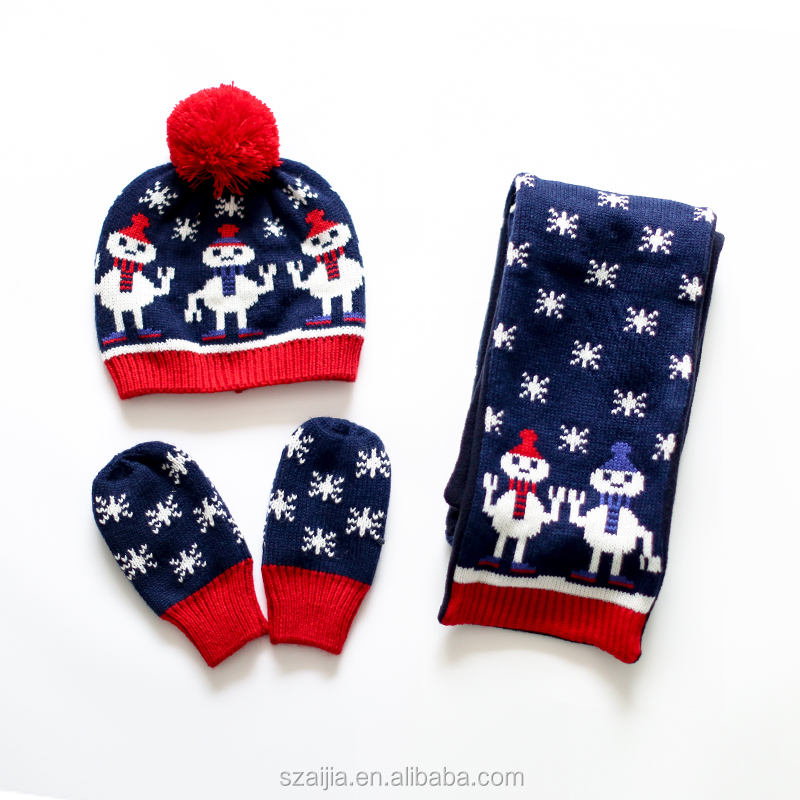 Fashion Kids warm knitted scarf hat glove set