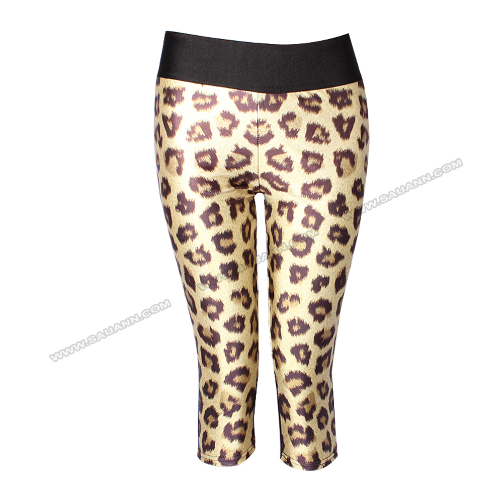 (Trade Assurance) side panel cropped leopard skin compression tights men sport leggings