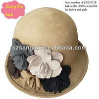 Small Manufacture camel wool cloche hats woman Popular new fashion wears hair caps100%wool felt/novelty hat /pillbox hat