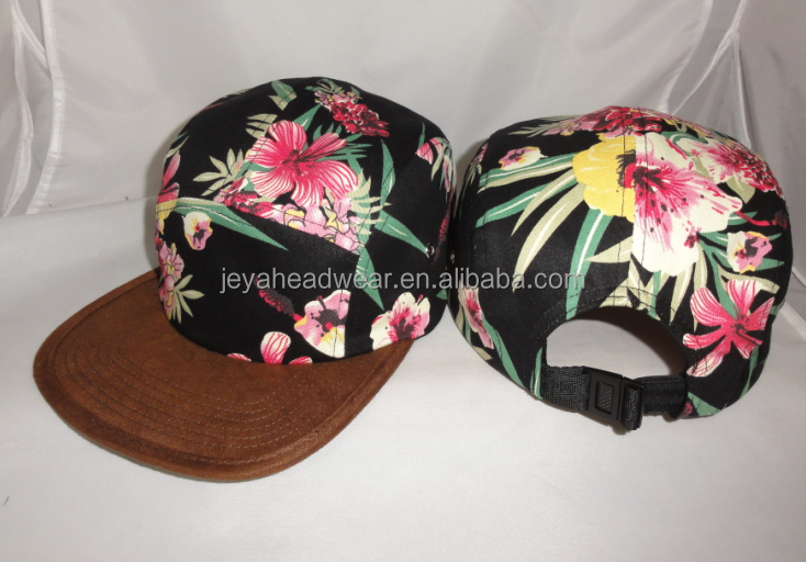 Floral Hawaiian Flower Print Hat Baseball Cap Flat Bill hiphop Unisex Snapback Hat