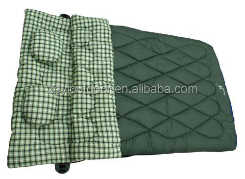 2 Person Camping Hiking Double Wide Sleeping Bag With Pillow