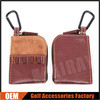 Custom PU Leather Golf Pouch For Accessories Holder With Carabiner
