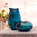 New style irregular bottle opening vase flat round oval transparent blue glass vase