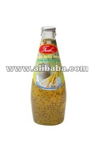Basil Seed Drink with Lemongrass in glass bottle 290 ml.