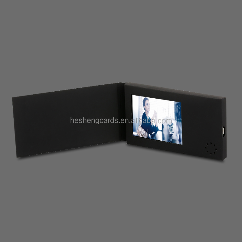 2017 newest brochure invitation lcd video greeting card/buiness video card/video in print