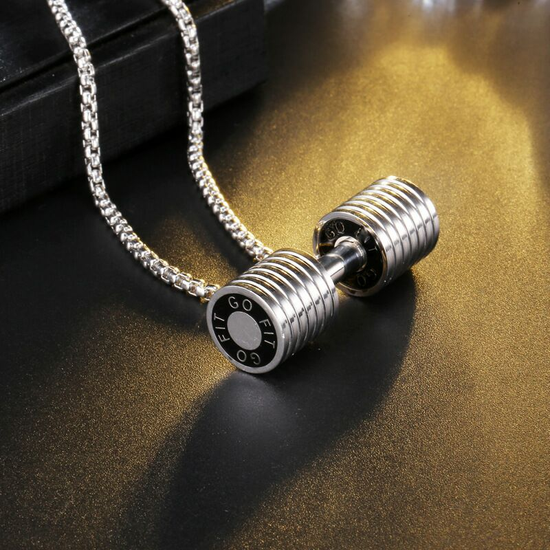 Novelty products top quality 3d gold silver black Titanium steel Fashion fitness dumbbell  necklace dog tag