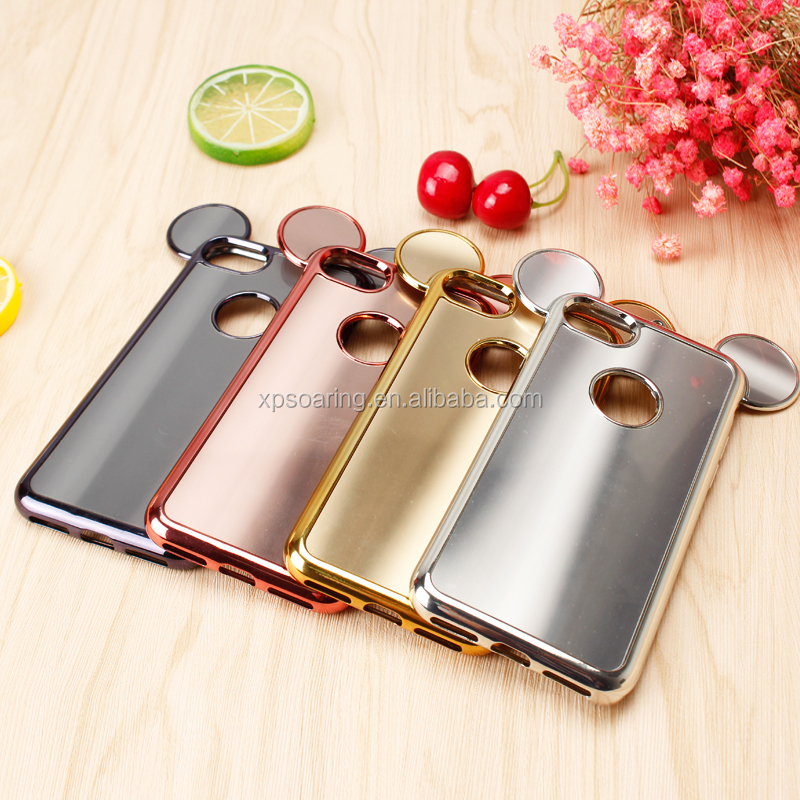 Chrome cartoon tpu case for iPhone 6 6 Plus, Cute design back cover for iPhone 7 7 Plus