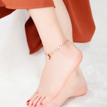Summer Jewelry Compact Titanium Girl Anklet With Butterfly Pendants