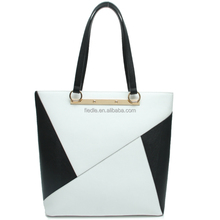 CSYH287-001 2015 black with white triangle leather handbag fiedle new bags collection lady handbag for woman's bag tote bag