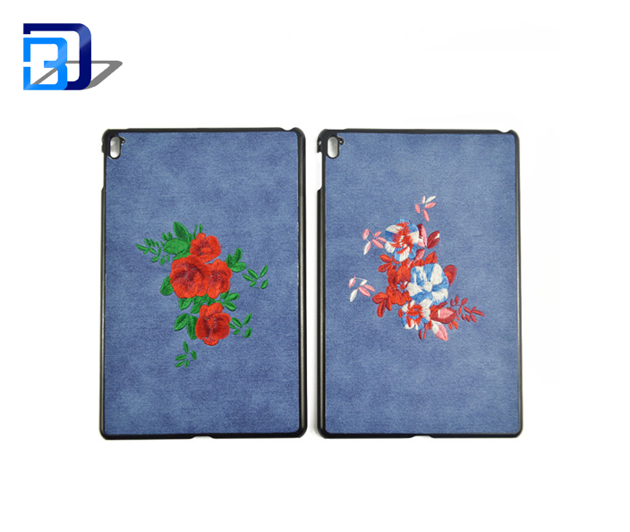 2017 new style new products on china market 9.7 inch embroidered protective custom pu tablet case for iPad Pro
