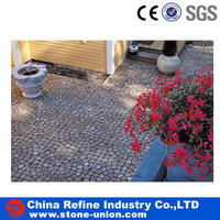 Outdoor floor pavement on matted mesh Black slate flagstone wholesale