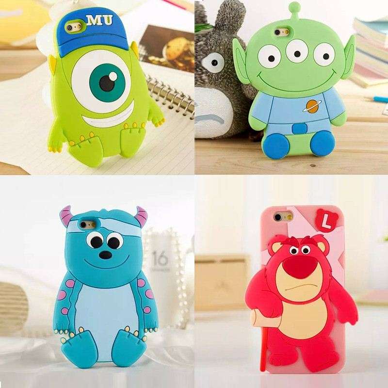 2015 3D cartoon animals monster Alien Strawberry Bear soft silicone case For iphone6 4.7inch/6 plus 5.5inch