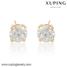 92285 xuping gold plated white single stone stud earrings
