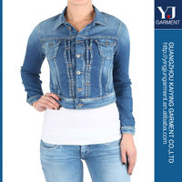 high qualtiy low price Ladies Denim Jacket West Light Bule Denim