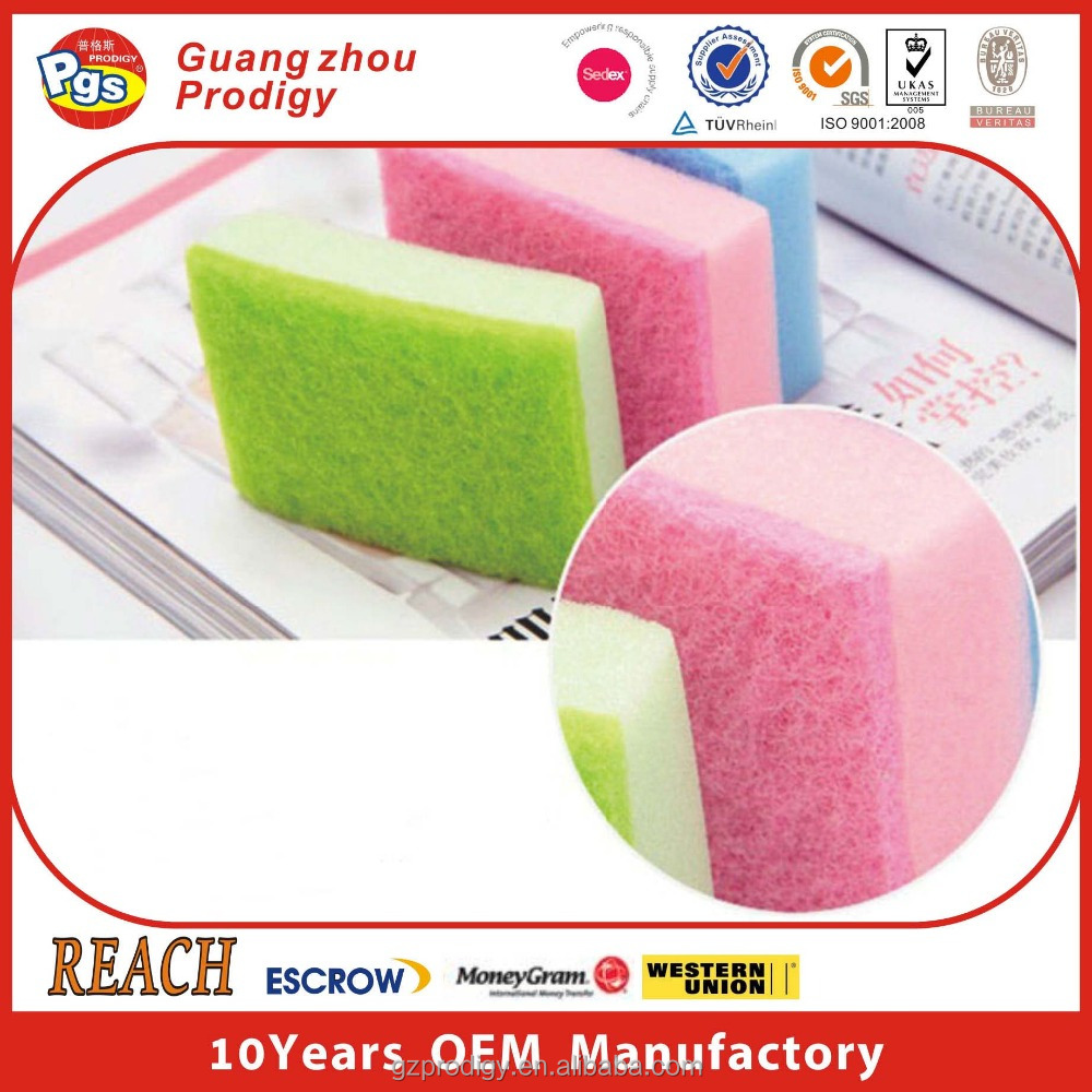 Kitchen washing dish sponge scouring pad types of cleaning sponges