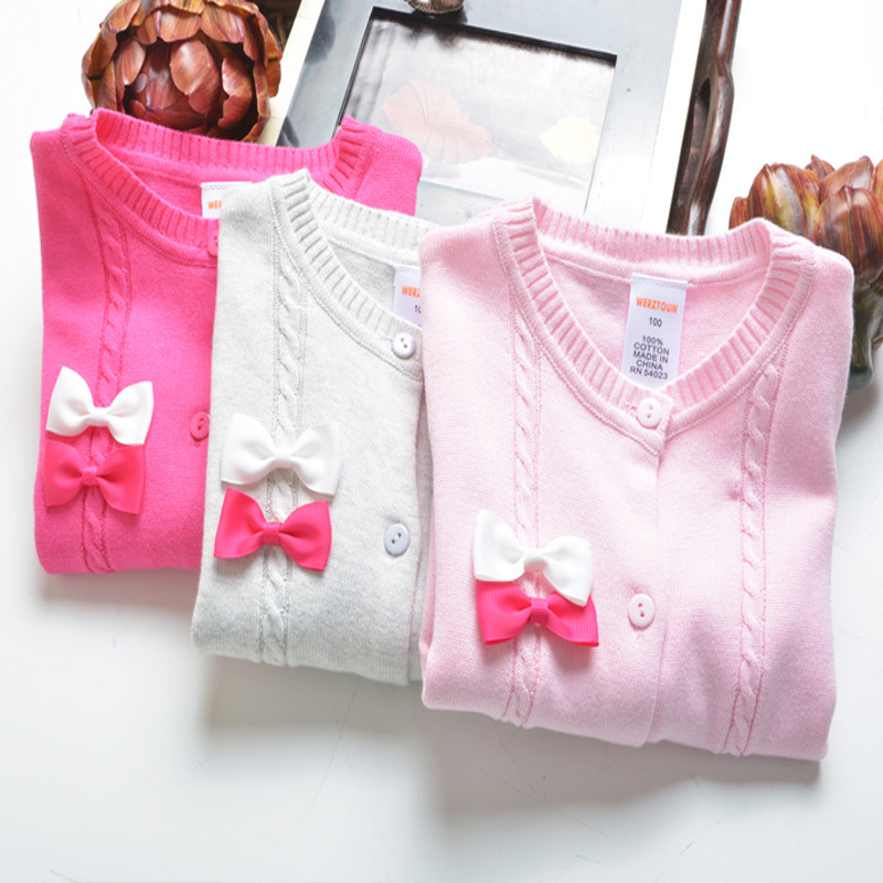 S31718W Baby Girl Cardigan Sweater Bows Knitted Girls Sweaters Kids Jackets Sweater
