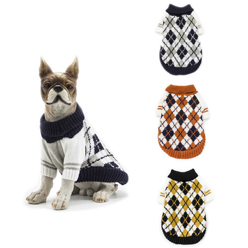 Winter Dog Clothes Pet Sweater Knitwear Warm Bone High Collar Coat Puppy Clothing