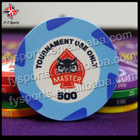 customized professional casino standard tournament ceramic chip 39mm 10g poker chips with UV printing