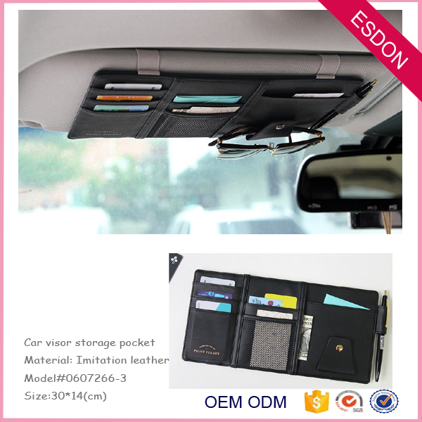PU leather Car Sun Visor Organizer - Auto Document and Small Storage Holder - Pouch for Registration and Insurance