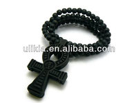 Egyptian Ankh Cross Religious Pendant Wood Necklace Beads Hip Hop Style